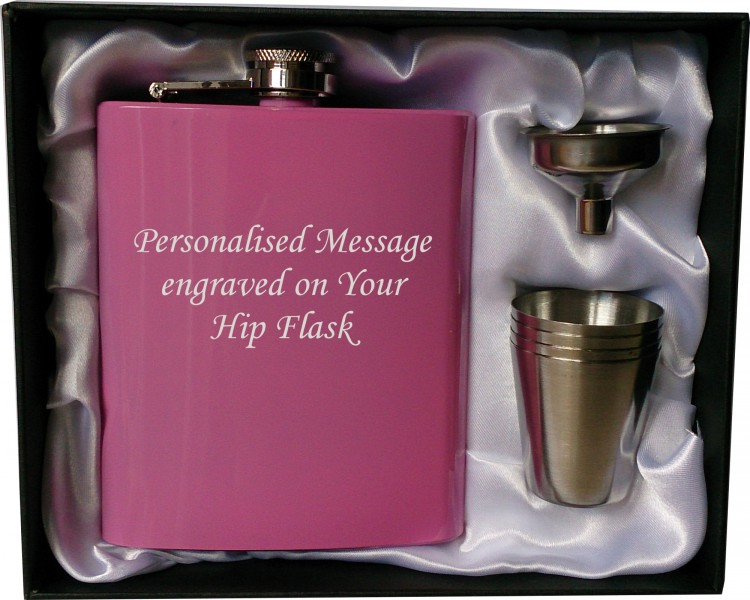 Personalised 7oz pink HIP FLASK IN GIFT BOX with funnel and 4 shots (white liner) Stainless 6 oz pink hip flask in presentation hard box with