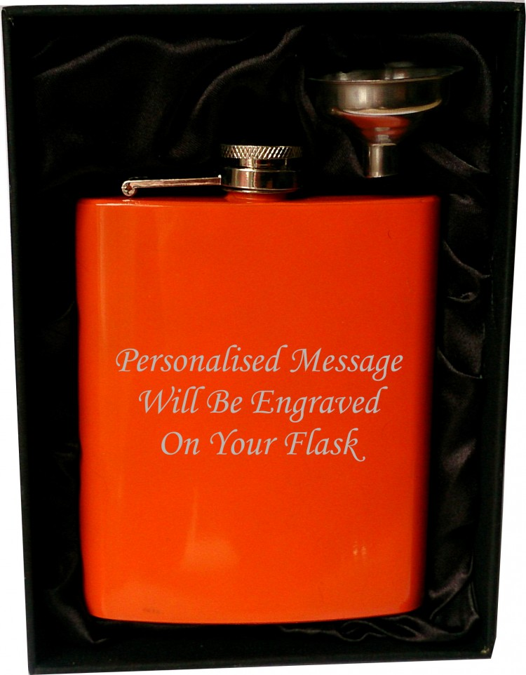 Personalised 7oz orange HIP FLASK IN GIFT BOX with black liner and funnel Stainless 7 oz orange hip flask in presentation hard box with funnel