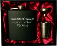 Personalised 6oz black HIP FLASK IN GIFT BOX with funnel and 4 shots (red liner)