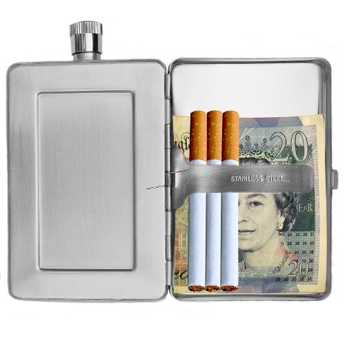 Stainless Steel Hip Flask and Cigarette Wallet Case Combination 2oz Stainless Steel Hip Flask and Cigarette Case Combination