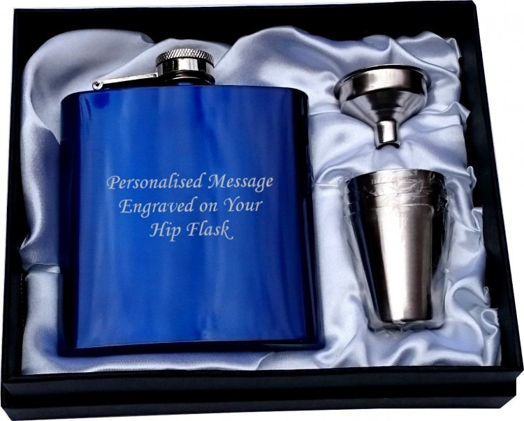 Personalised 6oz blue HIP FLASK IN GIFT BOX with funnel and 4 shots (white liner) wedding gift, birthday gift, fathers day, Christmas gift  Personalised 6oz blue HIP FLASK IN GIFT BOX with funnel and 4 shots (white liner) wedding gift, birthday gift, fathers day, Christmas gift .