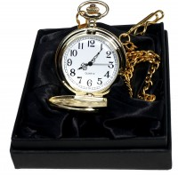Personalised Engraved Gold Pocket Watch/Chain black satin Gift Box Wedding Gift