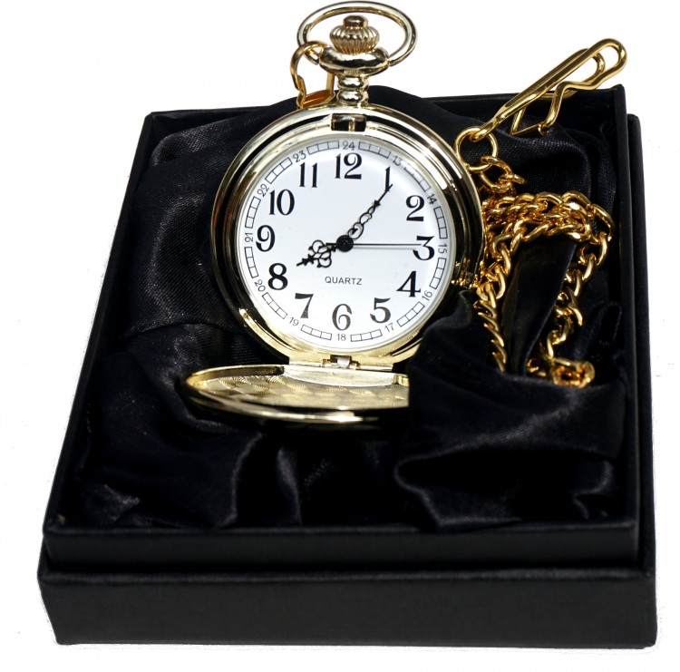 Personalised Engraved Gold Pocket Watch/Chain black satin Gift Box Wedding Gift Personalised Engraved Gold Pocket Watch/Chain black satin Gift Box Wedding Gift