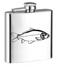 Personalised ENGRAVED STEEL HIP FLASK CARP hf06