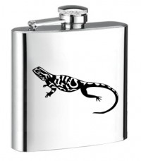 Personalised ENGRAVED STEEL HIP FLASK LIZARD hf04