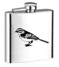 Personalised ENGRAVED STEEL HIP FLASK BIRD hf09