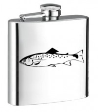 Personalised ENGRAVED STEEL HIP FLASK TROUT hf08
