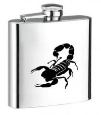 Personalised ENGRAVED STEEL HIP FLASK SCORPION hf11