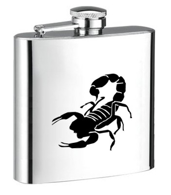 Personalised ENGRAVED STEEL HIP FLASK SCORPION hf11 SKORPION ENGRAVED STEEL HIP FLASK for SPIRIT WINE AND OTHER DRINKS