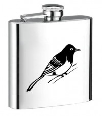 Personalised ENGRAVED STEEL HIP FLASK BIRD hf12