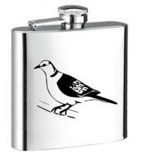 Personalised ENGRAVED STEEL HIP FLASK PIGEON hf14