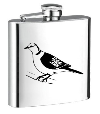 Personalised ENGRAVED STEEL HIP FLASK PIGEON hf14 PIGEON ENGRAVED STEEL HIP FLASK for SPIRIT WINE AND OTHER DRINKS