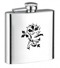 Personalised ENGRAVED STEEL HIP FLASK FLOWER hf15