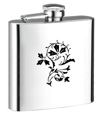 Personalised ENGRAVED STEEL HIP FLASK FLOWER hf15 FLOWER ENGRAVED STEEL HIP FLASK for SPIRIT WINE AND OTHER DRINKS