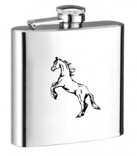 Personalised ENGRAVED STEEL HIP FLASK HORSE hf16