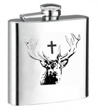 Personalised ENGRAVED STEEL HIP FLASK SAINT HUBERT DEAR hf22