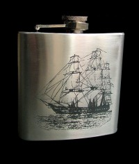 Personalised ENGRAVED STEEL HIP FLASK  DOLPHIN hf03