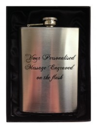 ENGRAVED PERSONALISED HIP FLASK 8oz in gift box (black inner)
