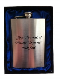 ENGRAVED PERSONALISED HIP FLASK 8oz in gift box (blue inner)