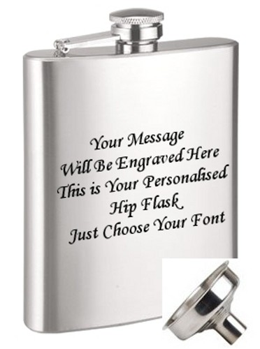ENGRAVED STEEL HIP FLASK 9oz (266ml) + FREE FUNNEL Stainless 9 oz (266ml) hip flask