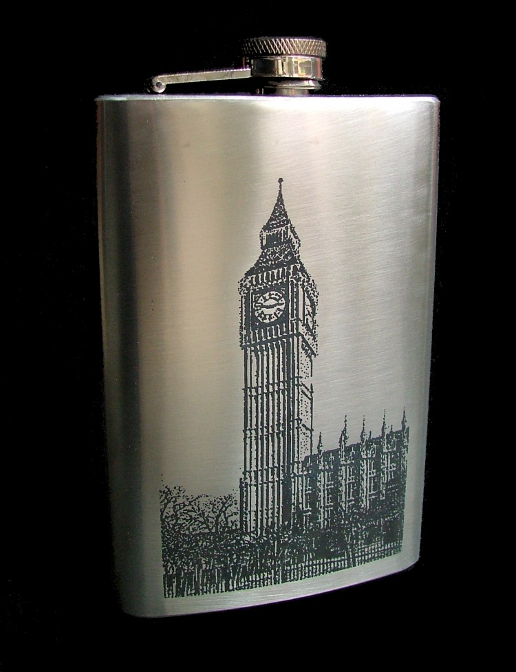 ENGRAVED 9oz HIP FLASK BIG BEN free personalised hf27 Stainless 9 oz (266ml)  Big Ben hip flask