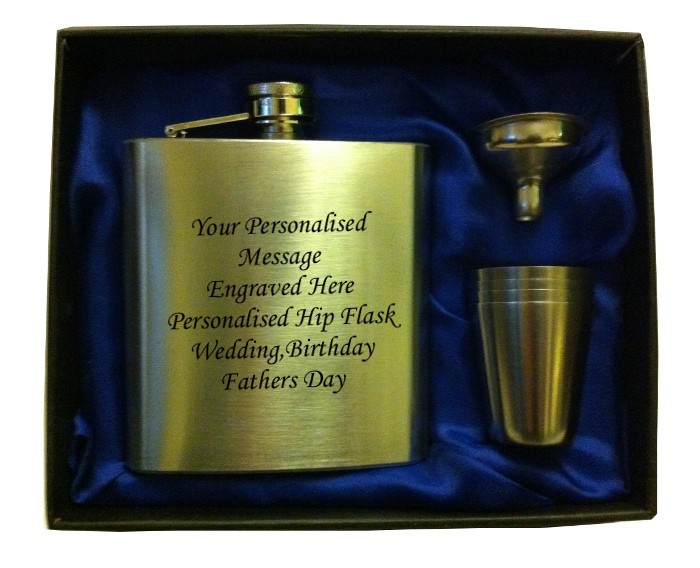 Engraved HIP FLASK IN GIFT BOX  with funnel and 4 shots - blue liner Engraved HIP FLASK IN GIFT BOX  with funnel and 4 shots - blue liner