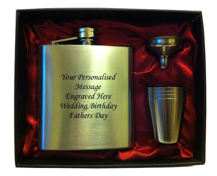 Engraved HIP FLASK IN GIFT BOX  with funnel and 4 shots - burgundy liner   Engraved HIP FLASK IN GIFT BOX  with funnel and 4 shots - burgundy liner
