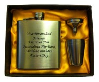 Engraved HIP FLASK IN GIFT BOX  with funnel and 4 shots - yellow liner