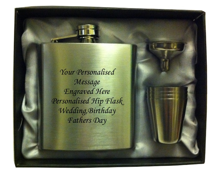 Engraved HIP FLASK IN GIFT BOX  with funnel and 4 shots - silver liner  Engraved HIP FLASK IN GIFT BOX  with funnel and 4 shots - silver liner